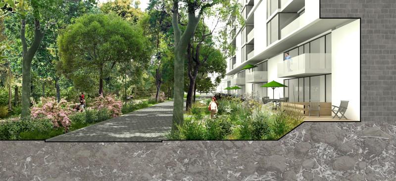 Interface des rez-de-chaussées avec le Bois-de-Liesse