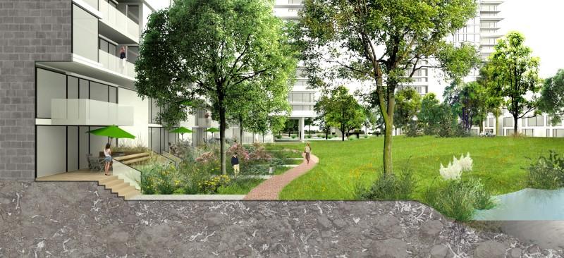 Interface des rez-de-chaussées avec le parc central